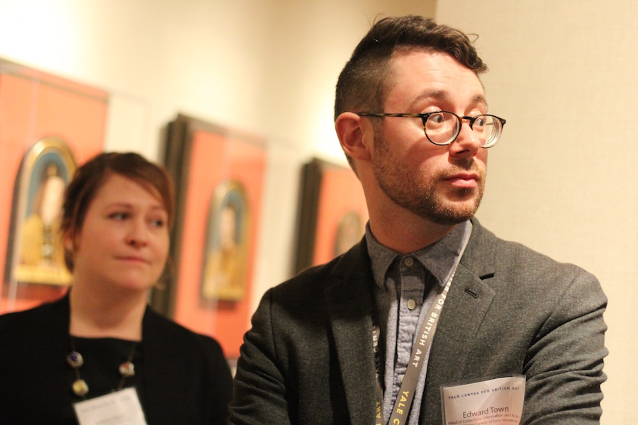 Co-curator Edward Town, with Senior Conservator of Paintings Jessica David in the background, at a press preview earlier this week (full curatorial credits are at the bottom of this article, with information on visiting the YCBA). Town spoke on the importance of the Paston letters, some of which are on the exhibition.  Lucy Gellman Photos.