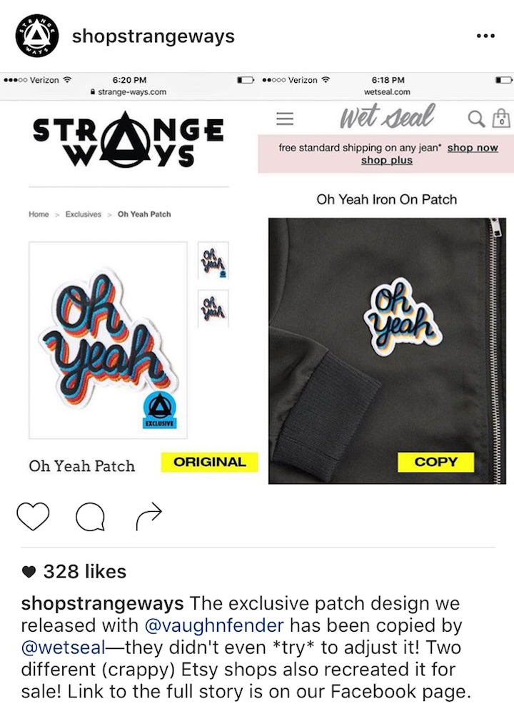 The 'Oh Yeah' pin that was ripped off in 2016. Strange Ways Instagram Photo.