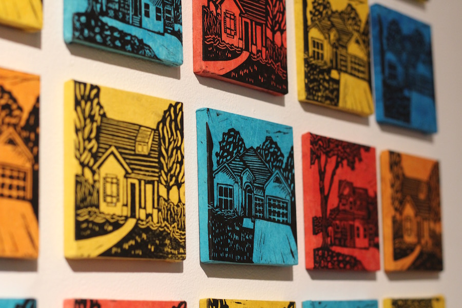 Details from Elizabeth Antle's woodcut series  Dream Home.