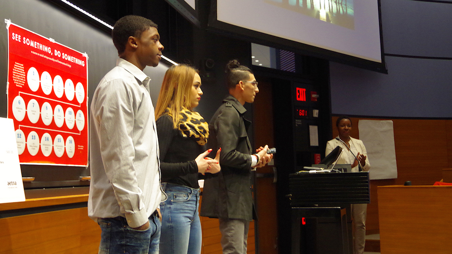 Willie Gary, Meridaliz Delima, and Mykell Rivera pitch New Haven Leaders before judges. Stephen Urchick Photos.