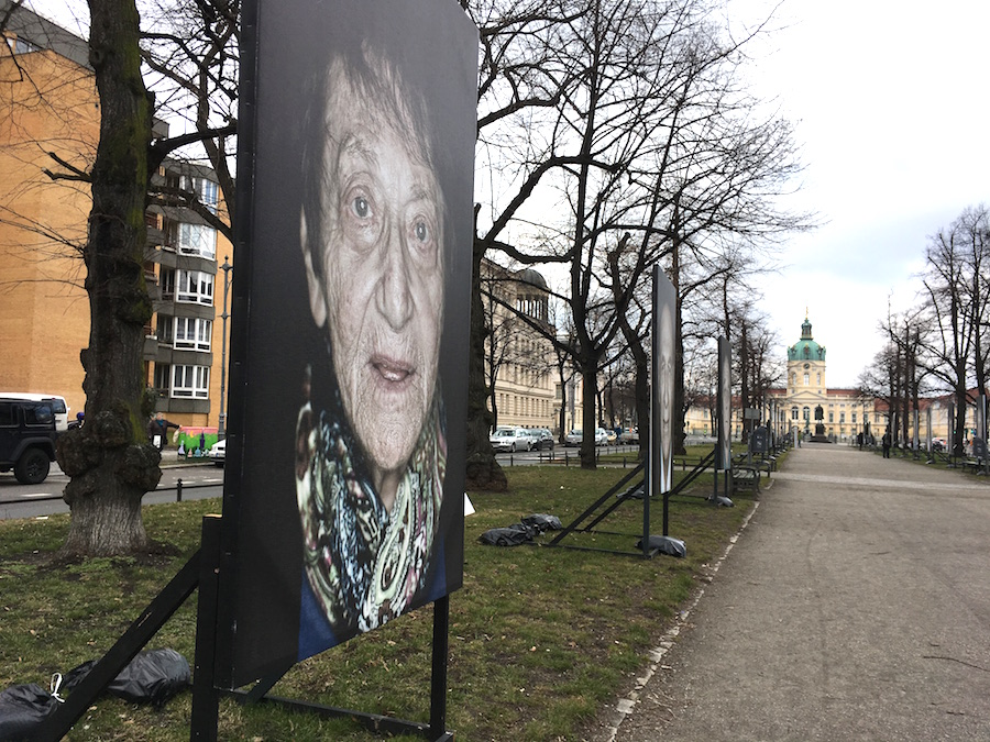 A photograph from Luigi Toscano's  Gegen Das Vergessen  ( Lest We Forget ), installed in Berlin's Charlottenberg neighborhood through this April. The show features remaining WWII survivors and their stories. Lucy Gellman Photo.