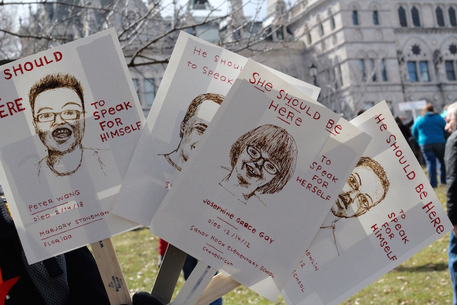 Saturday, 10,000 marchers gathered at the Connecticut State Capitol for the Connecticut chapter of March For Our Lives, a national rally and demonstration against gun violence in the U.S. One of those marchers was New Haven artist Julie Frankel. Lucy Gellman Photos.