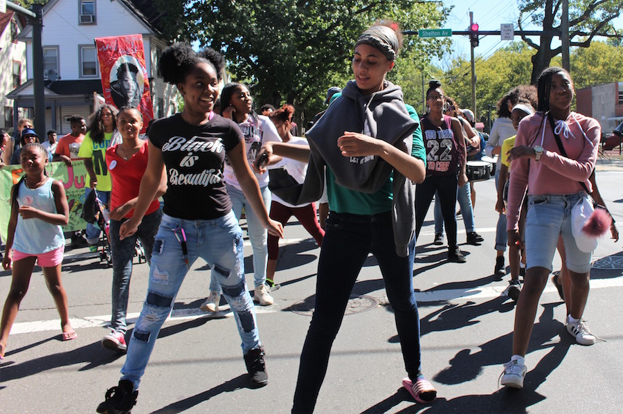 Young dancers from Ice The Beef Youth at a march for jobs last year. Thomas Breen File Photo for the New Haven Independent.