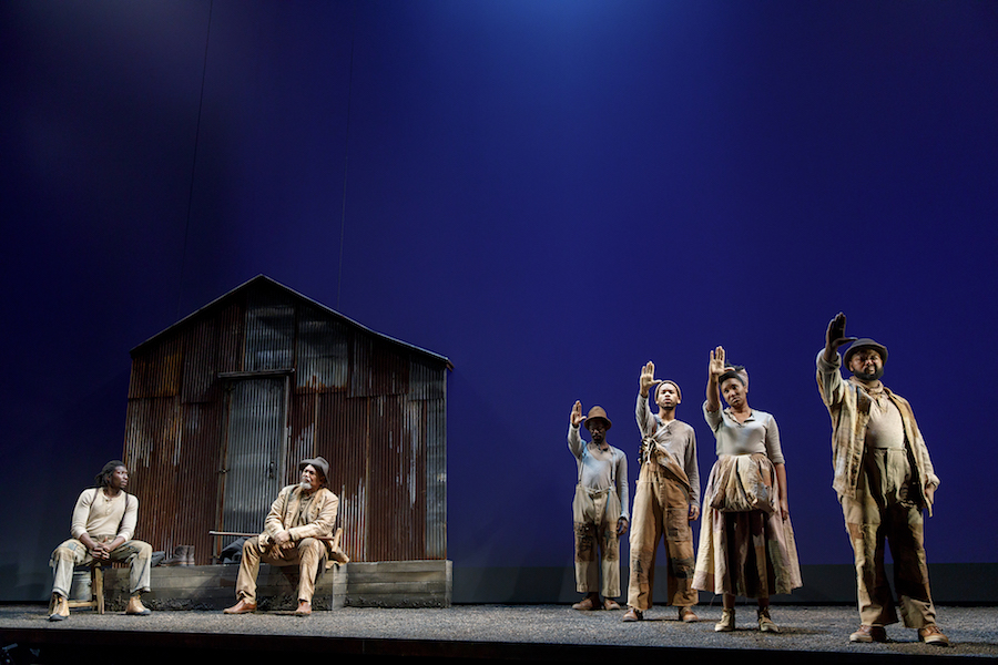 Members of the company of  Father Comes Home From the Wars, Parts 1, 2 & 3  by Suzan-Lori Parks, directed by Liz Diamond. Photo by Joan Marcus, 2018.