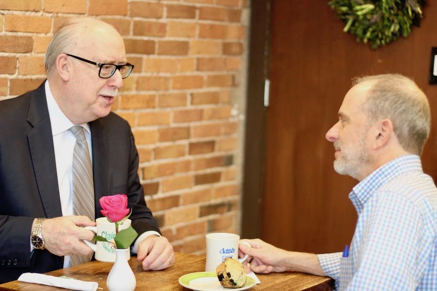 Breakfast buds David Vlahov and Jim Pettinelli.