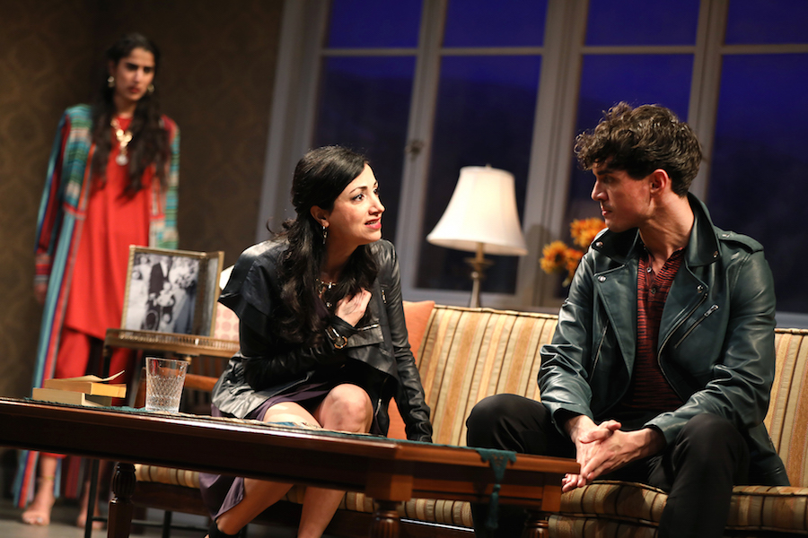 Sohina Sidhu (background), Hend Ayoub, and James Cusati-Moyer in  Kiss  by Guillermo Calderón, directed by Evan Yionoulis. Photo by Joan Marcus, 2018.