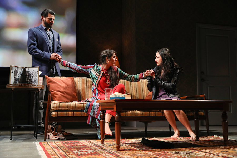 Ian Lassiter, Sohina Sidhu, and Hend Ayoub in  Kiss  by Guillermo Calderón, directed by Evan Yionoulis. Photo by Joan Marcus, 2018.