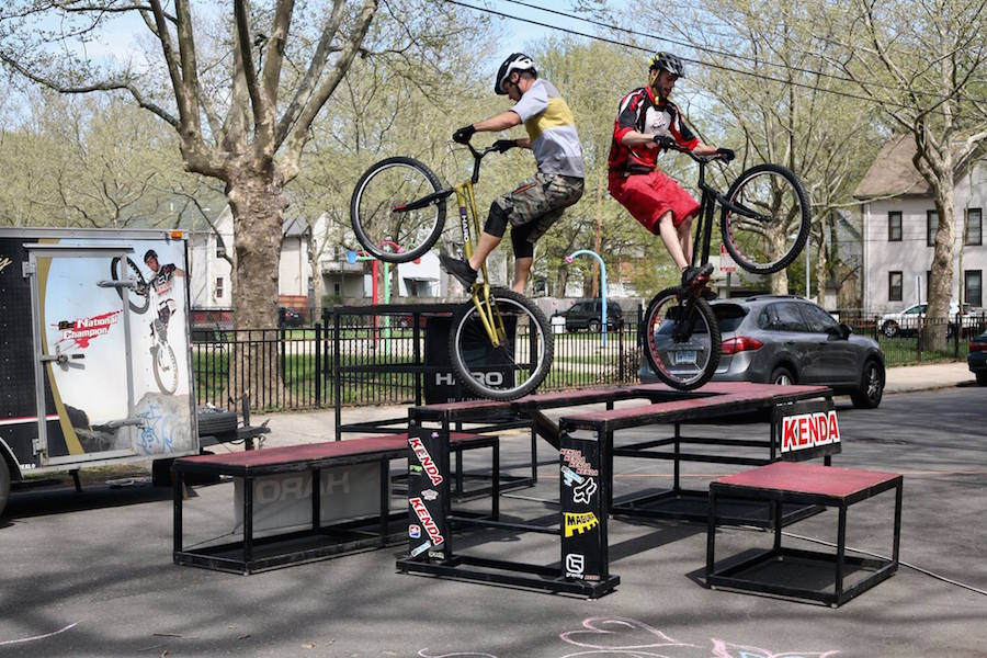 BMX Bikers Mike Steidley and Tom Larkin were one of the block party's highlights. New Haven Bike Month Photos.