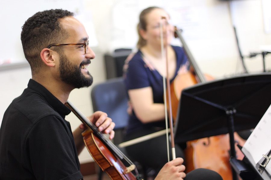 """James Keene. """"I definitely stand out,"""" he said of playing in multiple, predominately white orchestras. """"When I get the picture, it's like 'Oh! There I am!'"""""""