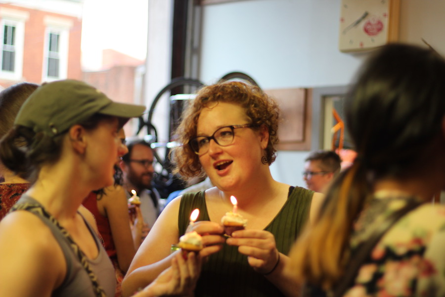 Honorary Chainbreaker Elizabeth Nearing mingles with attendees. Lucy Gellman Photos.