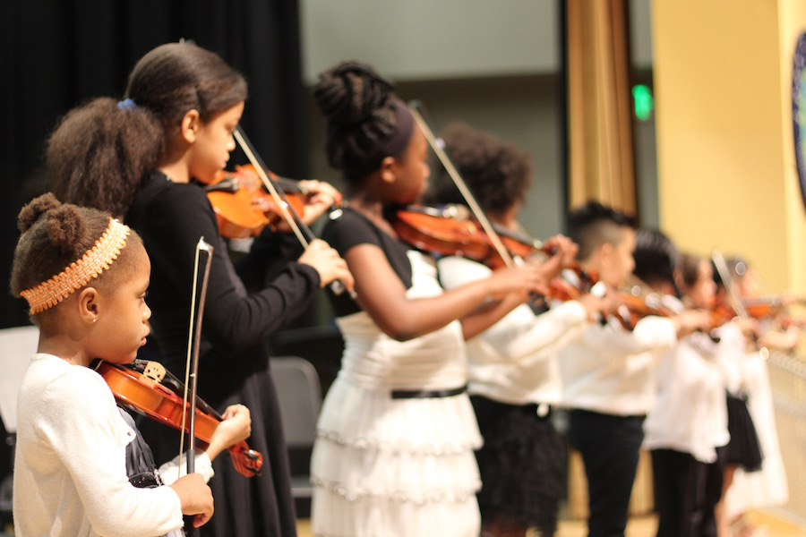 "Members of the ""Discovery Orchestra"" take the stage for the first time. Lucy Gellman Photos."