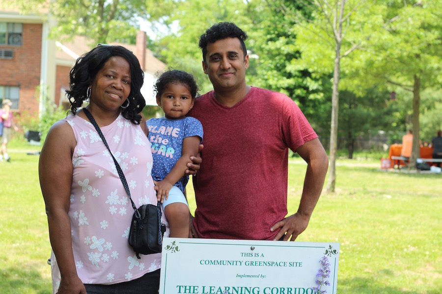 Community Placemaking and Engagement Network (CPEN) Founder  Doreen Abubakar , with her granddaughter Maddie and Cerda's Market Owner Imran Khan.
