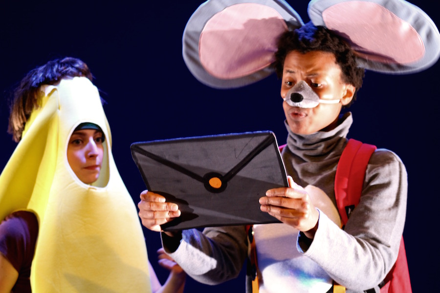 Kineta Kunutu and Caitlin Crombleholme as Morris the Mouse and Balana the Banana in Jenishka Torres'  The Unforgettable Friendship.