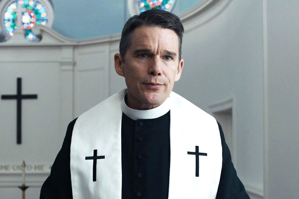 Ethan Hawke as Reverend Toller in Paul Schrader's new movie,  First Reformed .
