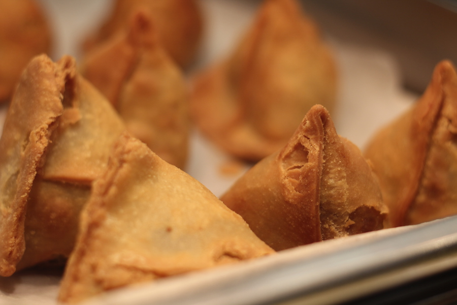 Samosas at Tikkaway, opened by Gopi Nair three years ago. Nair grew up in Kerala, India and came to the U.S. in 2001. He was away from the store, looking after a new shop in Boston.
