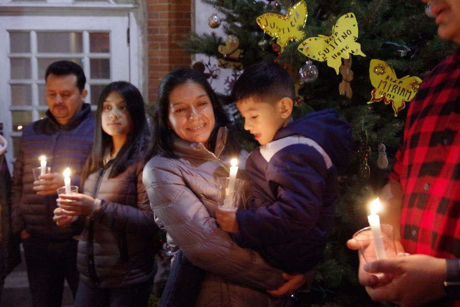 Nelson Pinos, his wife and children celebrated Christmas at a 'sanctuary tree' at First & Summerfield United Methodist Church last December. He has now been in sanctuary there for over half a year.