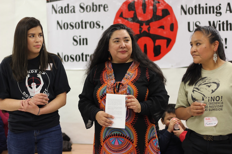Mujeres Unidas Laborando por el Arte (MULA) members Vanesa Suarez, Fatima Rojas and Enedelia at  an exhibition  on Grand Avenue earlier this year.