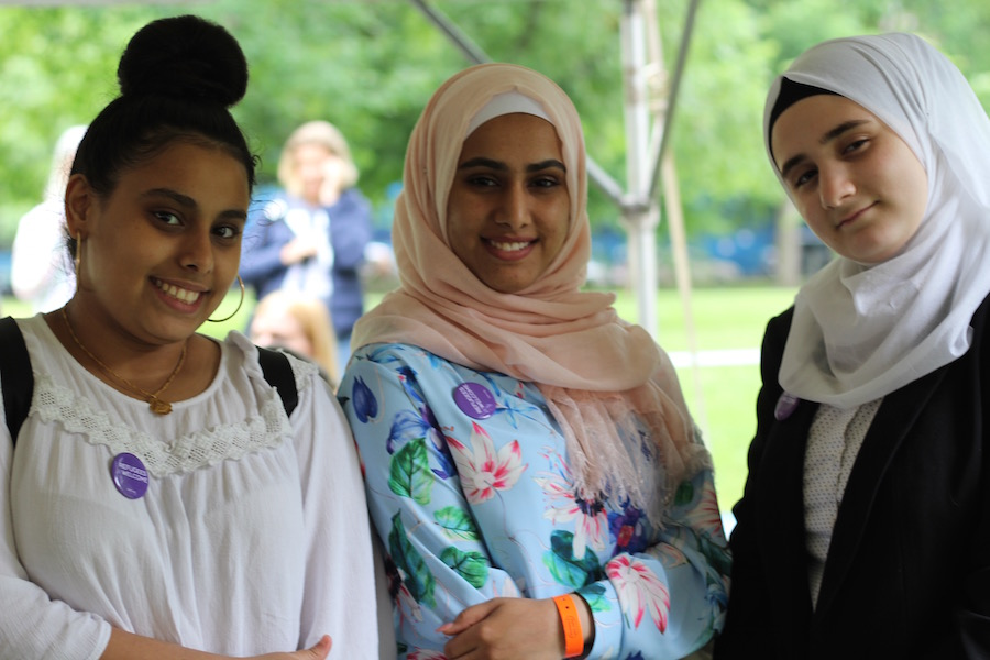 Friends Reem Asood, Noor Roomi and Nour Al-Zouabi, all of whom have come to the U.S. as refugees in the past few years.