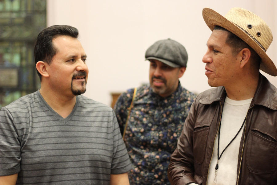 "Nelson Pinos, who has been in sanctuary fo rover six months, and Hector Paul Flores of activist band Las Cafeteras. ""It's part of who we are, and part of our ethos,"" said Flores as they performed a private show for Pinos in June. ""We're not activists, we're not organizers. We're musicians, so we want to amplify the work of those at the grassroots when we can."""
