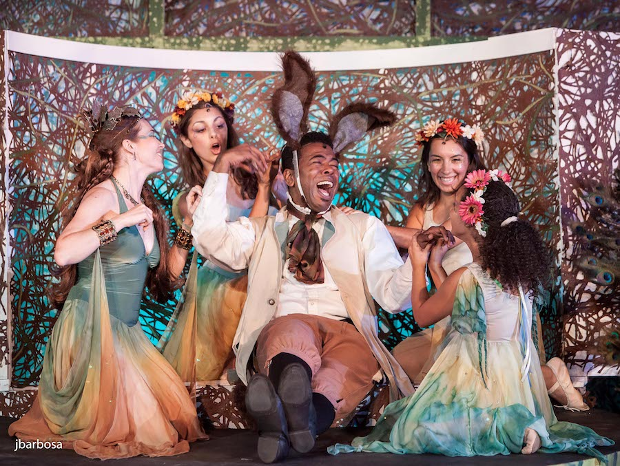 Ian Eaton as Bottom, Saluda Camp as Titania and Fairies in Connecticut Free Shakespeare's  A Midsummer Night's Dream  five years ago .  Judith Barbosa Photo.