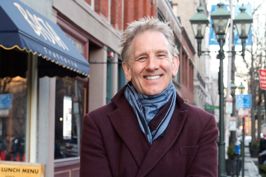 Alasdair Neale photographed downtown in February, when he was visiting New Haven for his audition concert. Lucy Gellman File Photo.