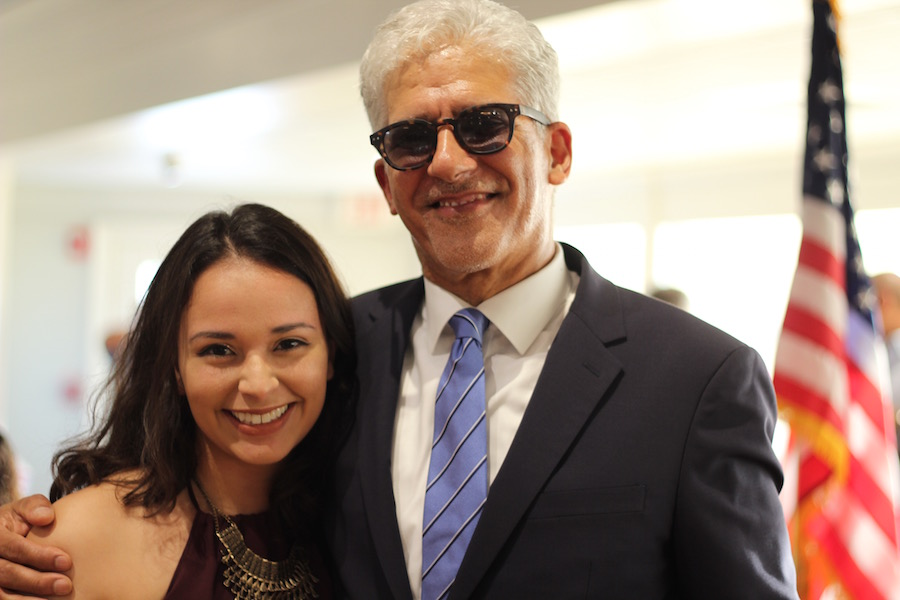 "Sepulveda with his daughter, Kara. When asked if she too caught the art bug, she gave an enthusiastic ""oh, no."" Instead, she is studying public health."