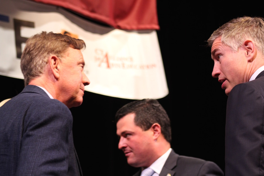 Ned Lamont and David Stemerman at Tuesday's forum. Tim Herbst is pictured in the background.Lucy Gellman Photos.