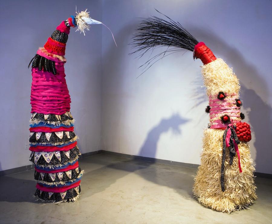 Sculptures by Antonak comprising silk, corn husk, and plastic flowers.Erin Lee Antonak Photo.