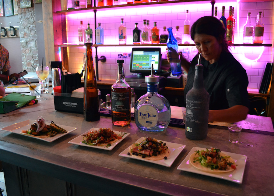 Sonia Salazar behind the bar at Barracuda. She said she hopes that Te Amo Tequila can soft open by September. Ariel Shearer Photos.