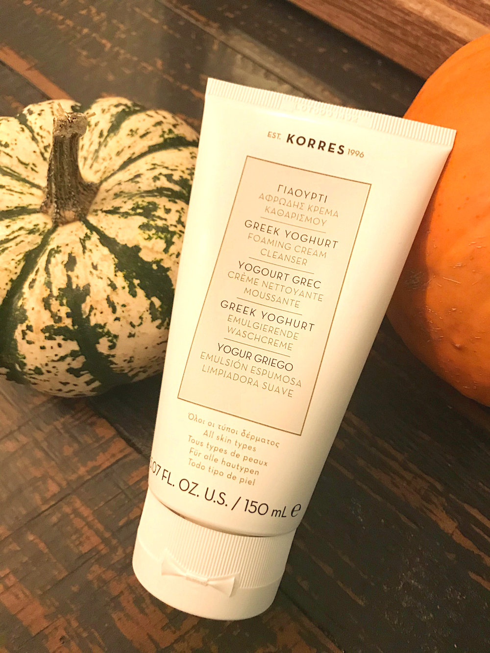KORRES Greek Yoghurt Cleanser - It smells so good and a great cleanser for all skin types.