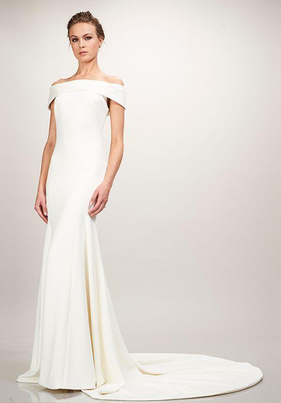 Off the shoulder crepe Theia wedding dress in Winter Park, FL