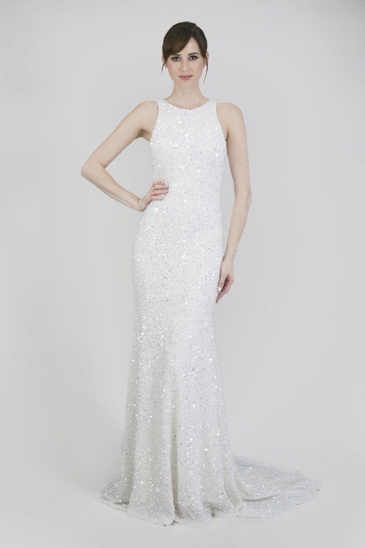 beaded sheath wedding dress by Theia Couture Orlando,FL