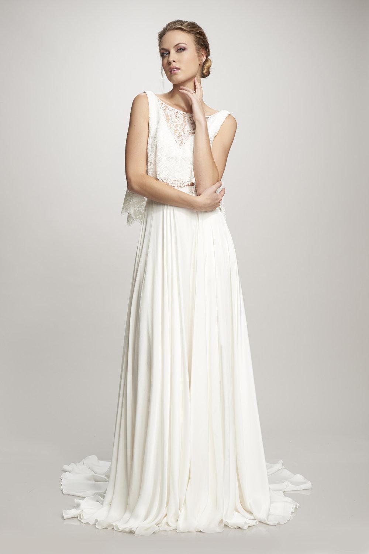 Lace bodice wedding dress with chiffon skirt by Theia Orlando, FL