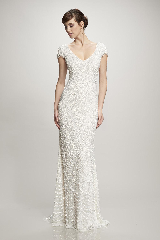 art deco wedding dress sheath with beading by Theia Orlando, FL