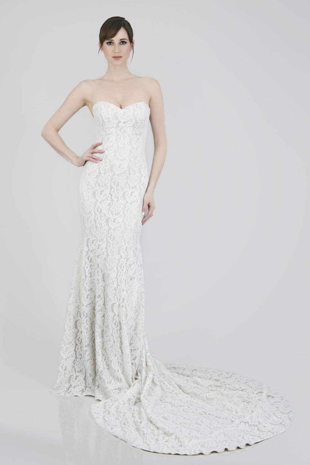 Lace wedding dress by Theia Couture Orlando, FL