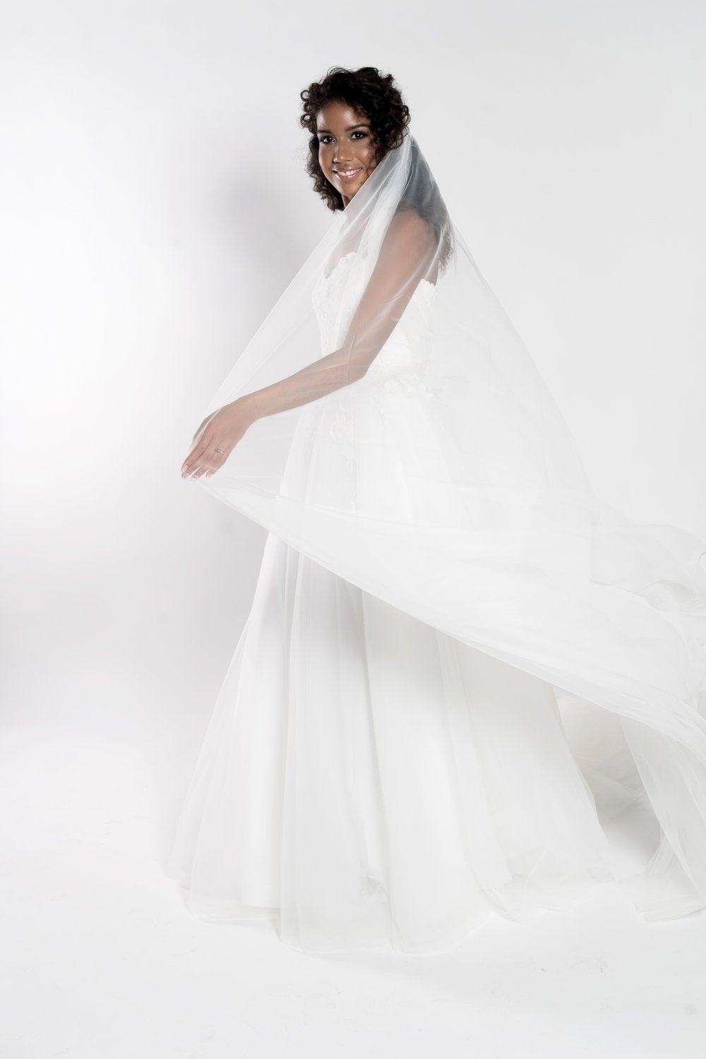 Tulle and lace ballgown wedding dress with veil