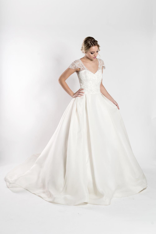 Ballgown wedding dress with satin faced organza Orlando bridal boutique