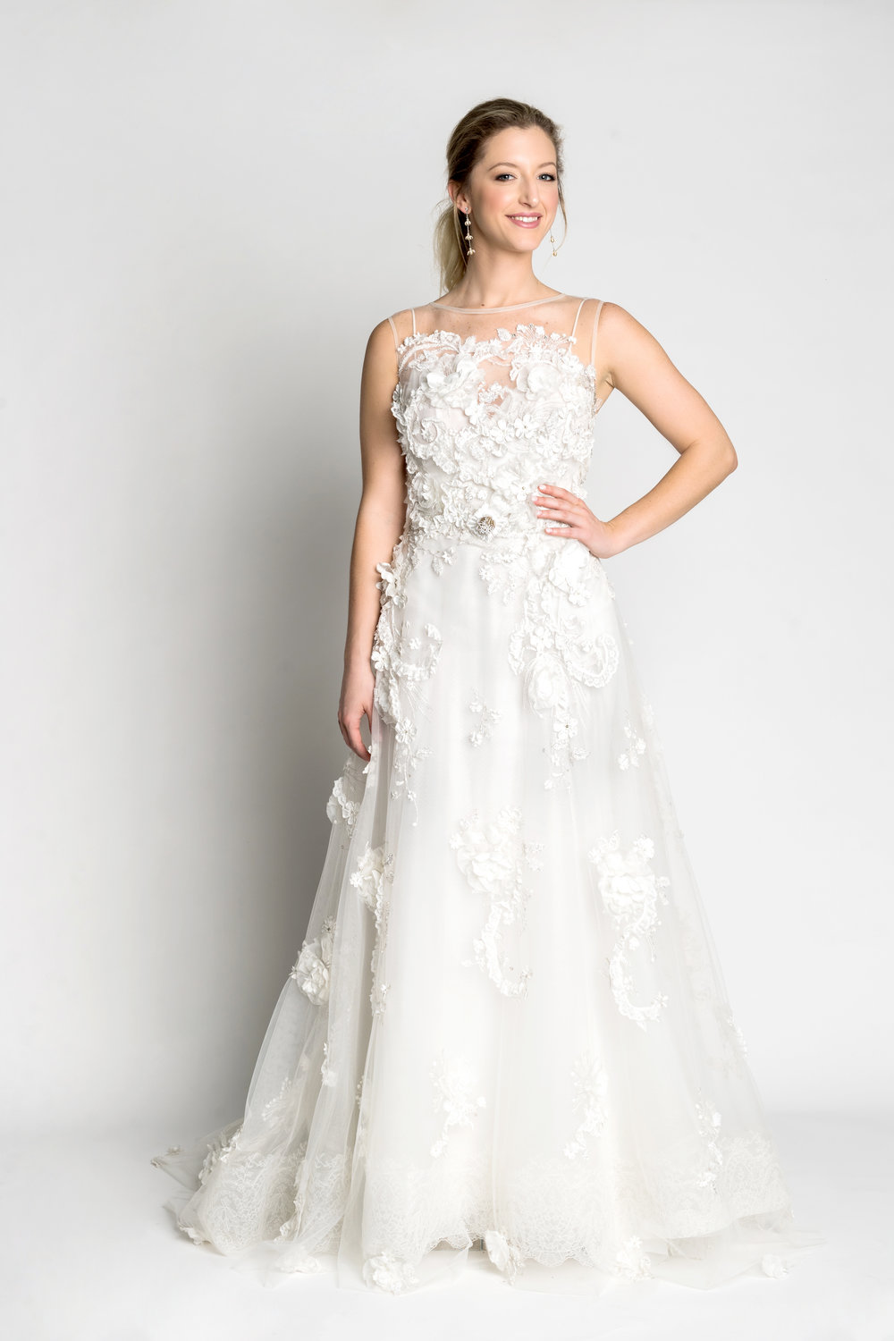 yolan cris wedding dress with lace detail. Perfect for The Alfond Inn wedding