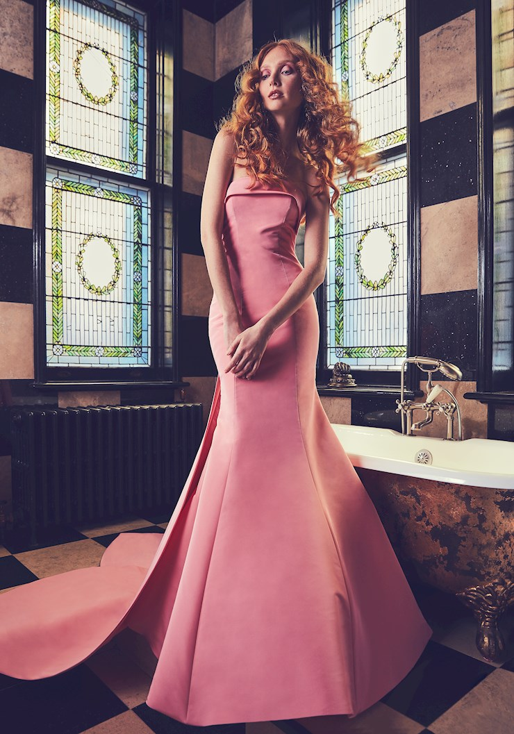 Sareh nouri colorful wedding dress in silk faille with bow detail