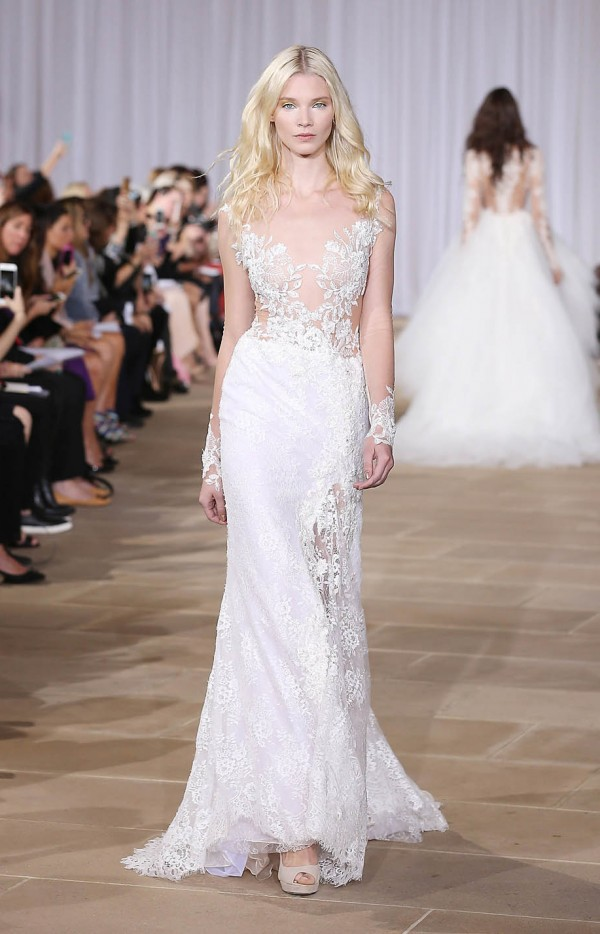 Lace wedding dress with sleeves designed by Ines Di Santo available at The Bridal Finery