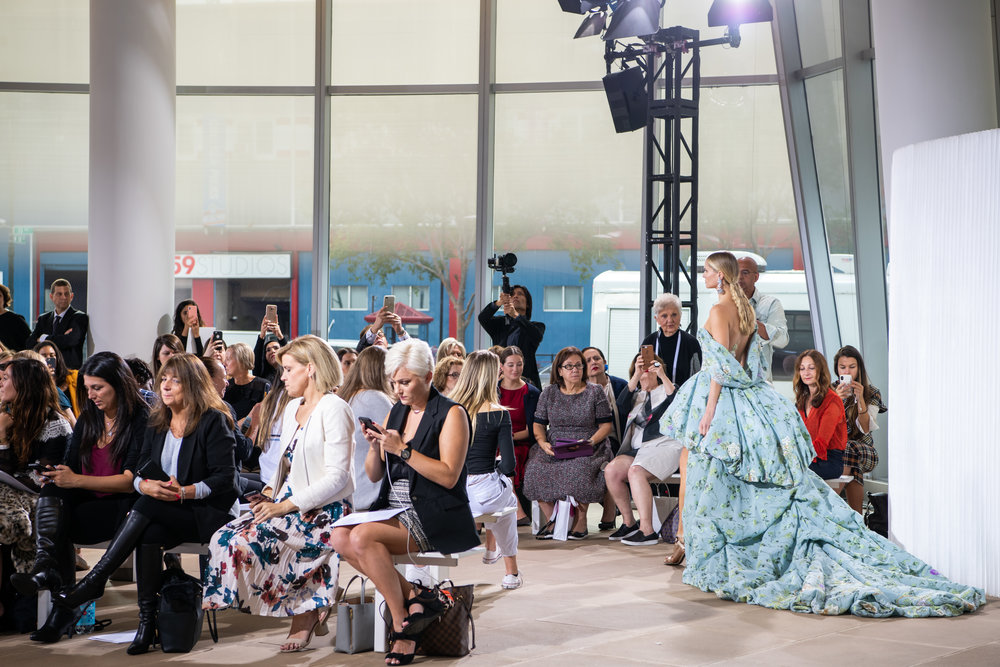 Ines Di Santo models walking the runway at Bridal Fashion Week. Photo by Kathy Thomas Photography