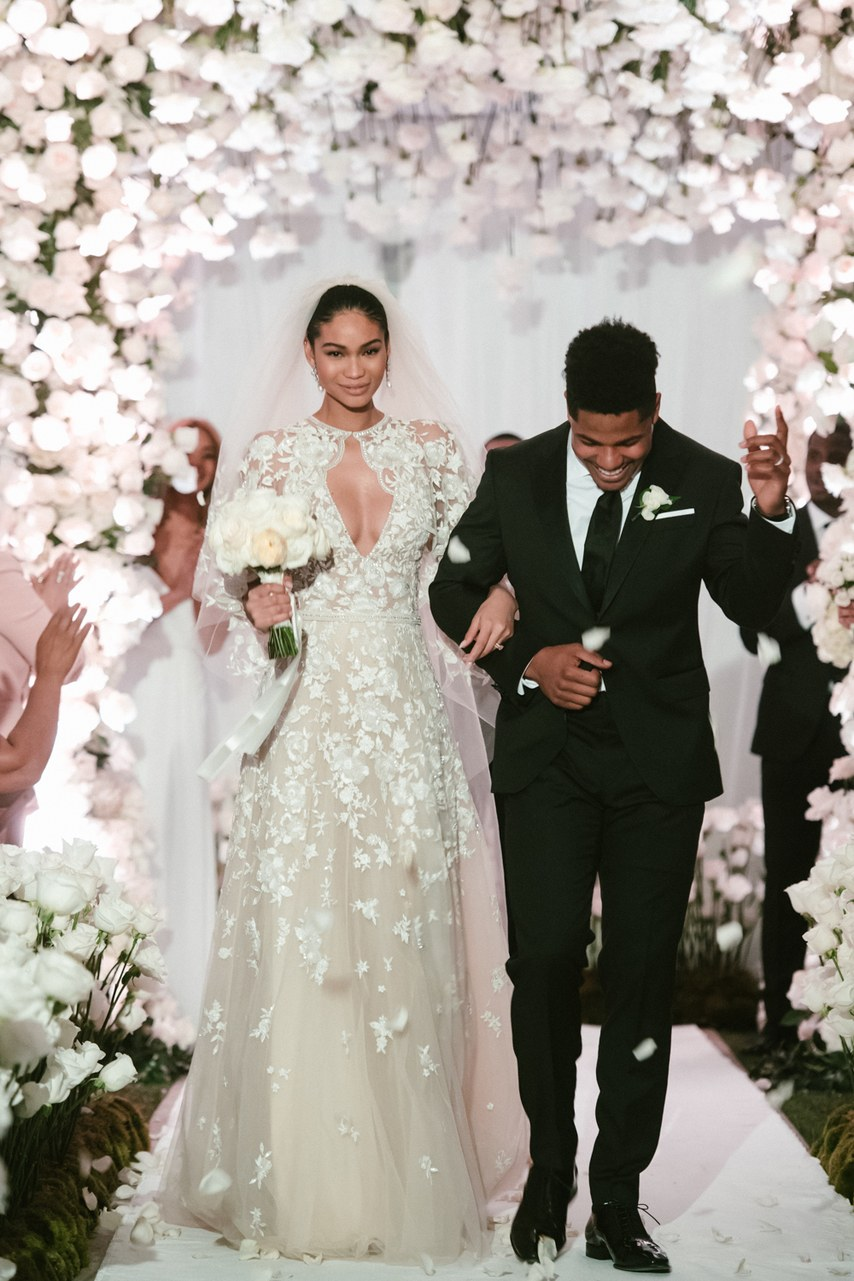 Chanel Iman wedding gown Suhair Murad celebrity wedding
