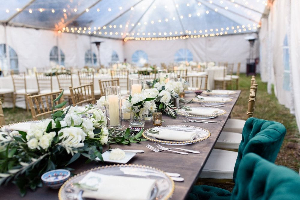 White and green wedding at Cypress Grove Estate House