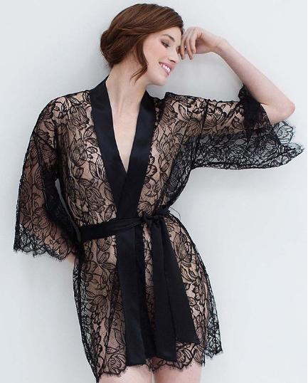 black lace robe black lace boudoir bridal robe valentines day gift