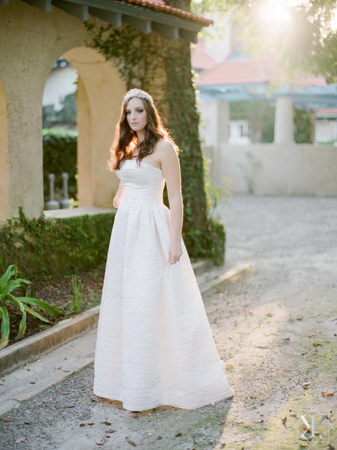 sydonie mansion garden wedding strapless ball gown peter langer kristen weaver photography