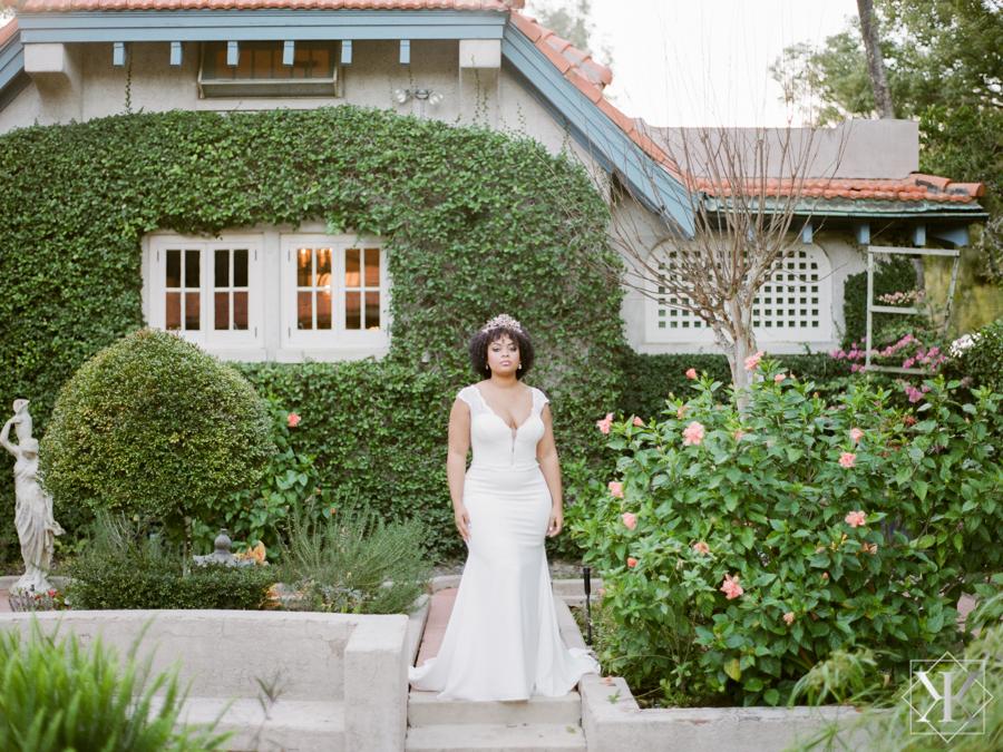orlando wedding vednors garden wedding plunging neckline gown real bride plus size bride