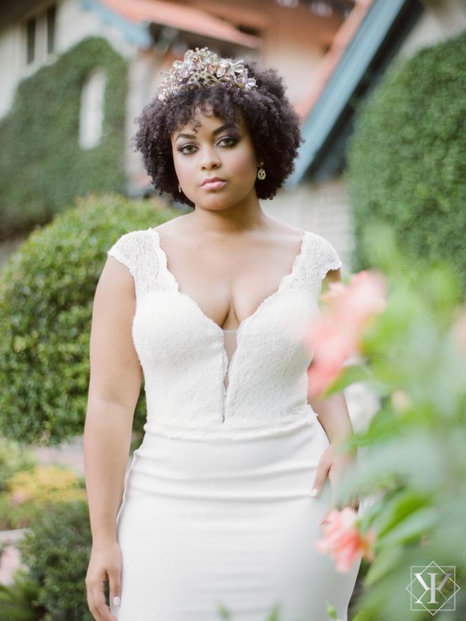 makeover station hair and makeup garden wedding white gown plunging neckline