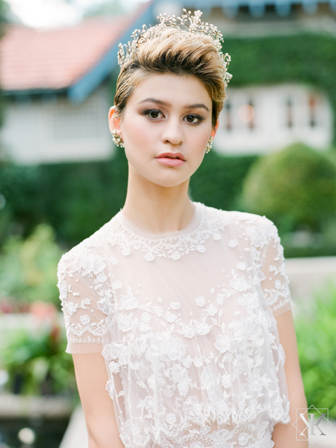ines di santo gown beaded wedding gown blush gown outside wedding
