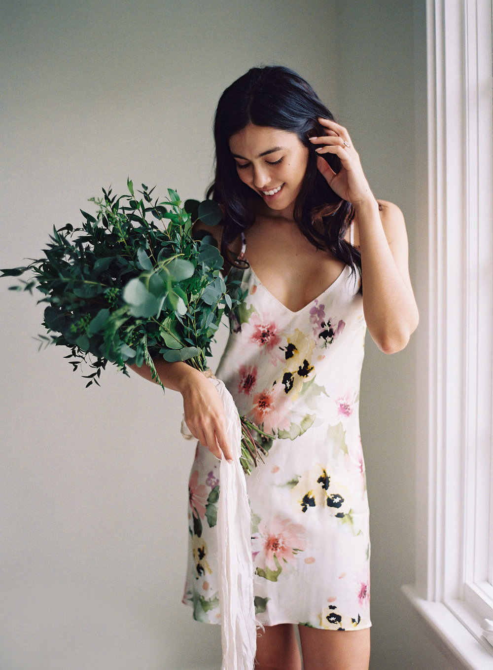bridesmaids robe girl and a serious dream greenery bouquet