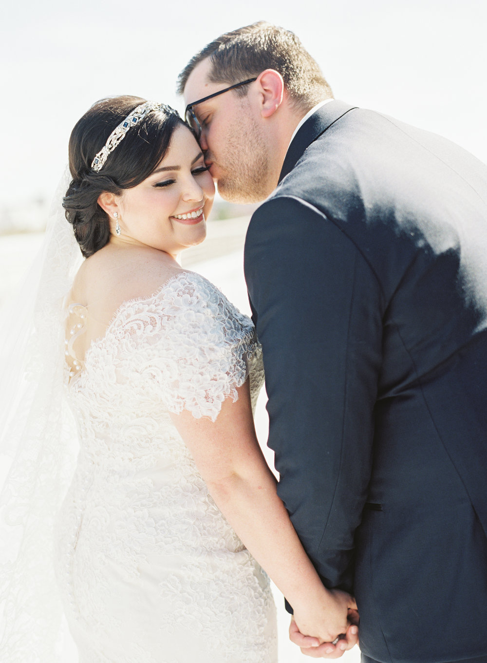 real bride wearing off the shoulder ines di santo wedding gown violette gown by ines di santo